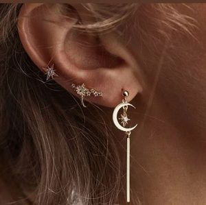 Moon & Stars earrings set 3 pcs